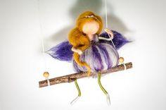 Needle felted Waldorf inspired swinging magnolia by Freyjafairies