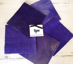 "Hand Dyed Felted Wool Fabric in Concord Purple Shades of 5"" x 5""  Wool Charm Pack of 5 by SimplyUniqueBySheila on Etsy"