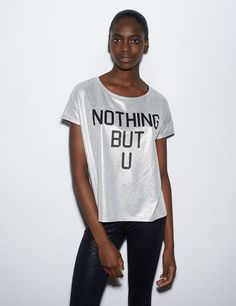 Tee-shirt gris argent pailleté imprimé nothing but you Vetement Pas Cher  Femme, Hauts cc48fa7b5f25