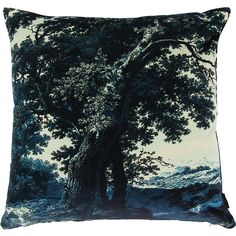 Boho & Co Trees Two Blue - Velvet Cushion - 60x60cm (135 CAD) ❤ liked on Polyvore featuring home, home decor, throw pillows, pillow, blue, velvet throw pillows, tree throw pillow, blue home accessories, tree home decor and blue accent pillows