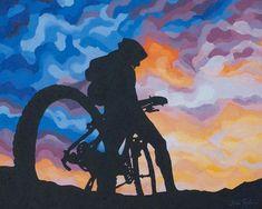 """Mountain Bike Art Print ~ Colorado Biking Art Print ~ """"Perfect Evening"""" ~ Mountain Biking Poster ~ B Mountain Biking, Riding Mountain, Enjoy The Ride, Bike Tattoos, Bike Illustration, Bike Poster, Bicycle Art, Bicycle Sketch, Bicycle Painting"""