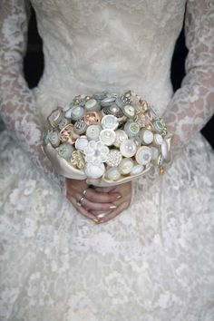 Gorgeous button bridal bouquet from Rock n Roll Bride