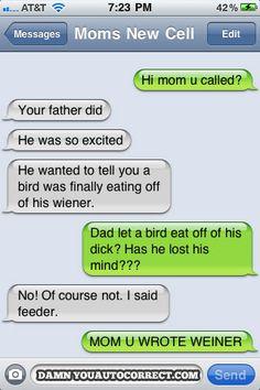Autocorrect fail - bird eating - http://jokideo.com/autocorrect-fail-bird-eating/