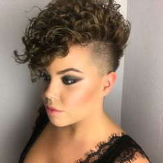 30 Trending Short Curly Pixie Ideas You Will Fall In Love, short curly pixie posts, short curly pixie carey mulligan, short curly pixie bob, short. Curly Mohawk Hairstyles, Short Shaved Hairstyles, Short Curly Haircuts, Curly Hair Cuts, Curly Undercut, Short Hair Cuts, Curly Hair Styles, Cool Hairstyles, Short Curly Pixie