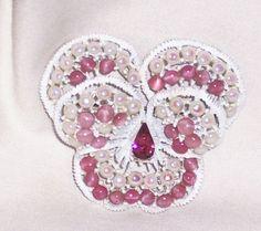 Vintage Signed Weiss Rhinestone Enamel Cabochon Pansy Flower PIN Brooch   eBay