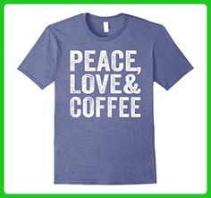Mens Peace Love Coffee Shirt XL Heather Blue - Food and drink shirts (*Amazon Partner-Link)