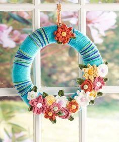 April Flowers Wreath Crochet Pattern #wreath #crochet #redheartyarns