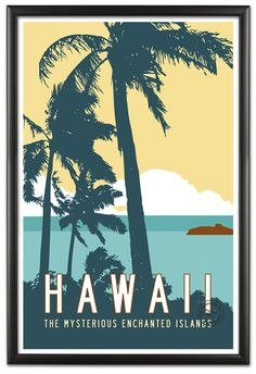 Vintage Style Hawaii Travel Poster by Michael Jon Watt | Transit Design | Graphic Design + Advertising