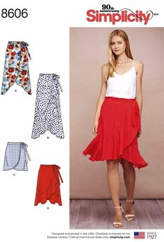 Sewing Pattern Women's Wrap Skirt Pattern, Misses' Wrap Skirt Pattern, Ladies' Flounce Skirt Pattern, Simplicity Sewing Pattern 8606 # Simplicity Sewing Patterns Your place to buy and sell all things handmade Skirt Patterns Sewing, Simplicity Sewing Patterns, Sewing Patterns Free, Free Sewing, Clothing Patterns, Skirt Sewing, Sewing Tips, Sewing Tutorials, Pattern Sewing