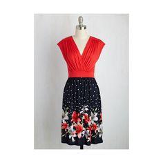Mid-length Short Sleeves A-line Poolside Setlist Dress (3.945 RUB) ❤ liked on Polyvore featuring dresses, apparel, fashion dress, polka dot dress, mid length sundresses, mid length dresses, short sleeve polka dot dress and short sleeve a line dress