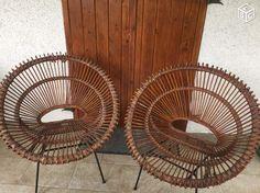 Fauteuils (2) osier rotin vintage pieds tripodes