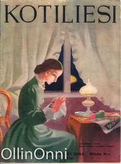 Kotiliesi 22/1934  Kansi Martta Wendelin. Vintage Postcards, Children's Books, Magazine Covers, Finland, Martini, Nostalgia, Scrap, Memories, Retro