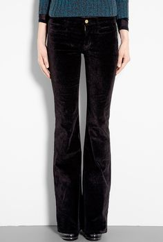 Marrakesh Black Velvet Mid Rise Kick Flare Jean by MiH