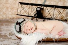 Baby Pilot Hat  Newborn Aviator Hat, and plane with background love whol idea