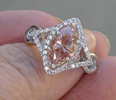 Breathtaking 1.88 ct. PINK Marquise Diamond Solitaire Ring 14K WG #Solitaire