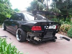 Widebody e36 bmw car with gt wing and fancywide diffuser
