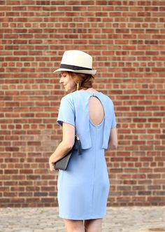 The Steele Maiden: Blue Double Layer Dress with open back and straw fedora