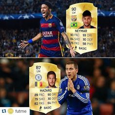 Two great players! One performing at his best, the other at his worst! This what their form looks like on kick off mode recently, is this their future ratings? Neymar, Messi, Fifa 15, Ballon D'or, Ronaldo, Kicks, Baseball Cards, Future, Future Tense