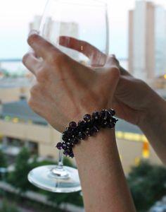 Follow me on Pinterest! Shambala Dangles bracelet red or purple glass beads set on black cord