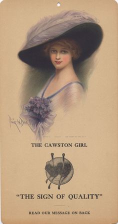 "Cawston Advertising Card: The Cawston Girl ""Violet"", c. ad for Cawston Ostrich Farm, South Pasadena California via University of California Libraries Vintage Pictures, Vintage Images, Vintage Posters, Victorian Hats, Victorian Women, Vintage Ephemera, Vintage Cards, Titanic, Decoupage"