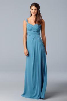 Mediterranean Crinkle Chiffon dress with surplice neck, sheer cap sleeves and side-draped skirt... beautiful bridesmaid dress