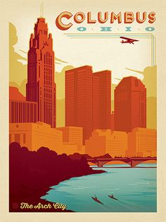 Columbus, Ohio - Anderson Design Group has created an award-winning series of classic travel posters that celebrates the history and charm of America's greatest cities and national parks. This print features a lovely view of the Columbus riverfront and skyline. Printed on heavy gallery-grade matte finished paper, this print will look great on any home or office wall.