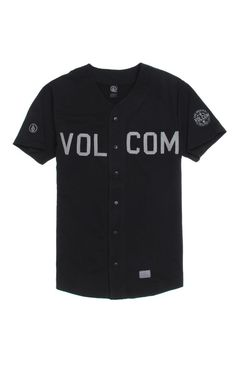 PacSun presents the Volcom Milton Jersey for men. This black men's jersey has a gray Volcom graphic sewn on the front of the button up jersey.	Black baseball jersey with Volcom graphic sewn on front	Button front	Short sleeves	Regular fit	Machine washable	60% cotton, 40% polyester	Imported