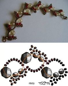 Best Seed Bead Jewelry 2017 Simple but elegant necklace schema. Free bracelet pattern RIBIZLY by Tzitla. Materials: seed beads round beads and Beaded Jewelry Designs New Nice Vine Look for Beaded Bracelet or Necklace Might Look Good as Modern Beaded Brace Diy Beaded Bracelets, Beaded Bracelet Patterns, Beading Patterns, Necklaces, Beaded Earrings, Bead Jewellery, Seed Bead Jewelry, Seed Beads, Diy Accessories
