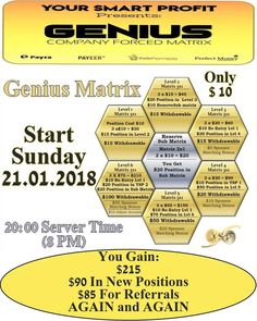 Don't miss GENIUS Matrix start on Sunday January 21. 2018, 20:00 CET Server Time (8PM)  because it will give you entry in the whole YSP matrix system with  extra positions in their SUB Matrix and all YSP matrixes… Make a first step towards your financial freedom, register here:http://yoursmartprofit.com/ref/zaja1948
