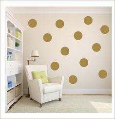 Make a statement with these trendy gold polka dots!  Gold Polka Dots Vinyl Wall Decals Gold by CustomVinylbyBridge, $28.00
