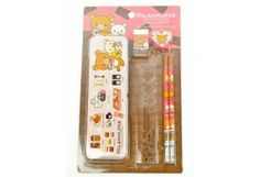San-X Rilakkuma Stationary Set Pencil Case Sharpener Rubber Ruler Pencil 2 pcs B