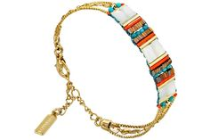 Bracelet chaîne 3 rangs Ozalée, dorure or 14 carats Satellite