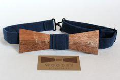 Handcrafted Wooden Bow Tie • Mahogany + Dark Blue • Adjustable Band by WoodsyAccessories on Etsy
