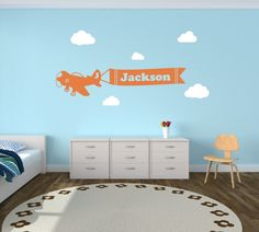 Personalized Airplane Clouds Name Decal - Airplane Banner Childrens Room Decor Kids Room Teen Name Vinyl Wall Decal Airplane With Clouds by NewYorkVinyl on Etsy https://www.etsy.com/listing/162777359/personalized-airplane-clouds-name-decal
