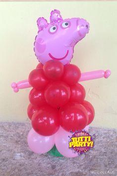 Peppa pig Center pieces, Peppa pig balloons, centro de mesa Peppa pig. Escultura de globos Peppa pig