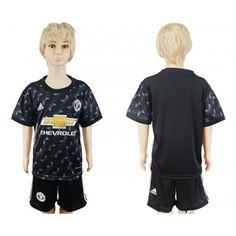 Kids 2017-2018 Football Kit Manchester United F.C. Away Adidas Black Football Shirt