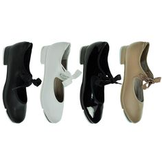 Capezio® 356C Shuffle Tap Shoe. The Shuffle Tap comes in four colours, shiny black patent, black, caramel and white pu. Adorable ribbon tie and double snap, fastening elastic will ensure the most secure fit. Features signature, Capezio Tele-Tone® toe and heel taps mounted on fibreboard for flawless sound. Introductory tappers will take their first steps with confidence in the Shuffle Tap.  www.dancinginthestreet.com Black Patent Leather, White Leather, New Tap, Taps, Tap Shoes, Caramel, Confidence, Ribbon, Colours