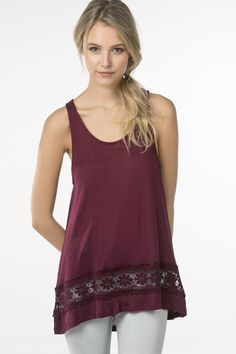 Loose tank with lace