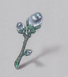 Baroque pearl brooch / water color, pencil on grey paper /Facebook: www.facebook.com/wooakimdesign