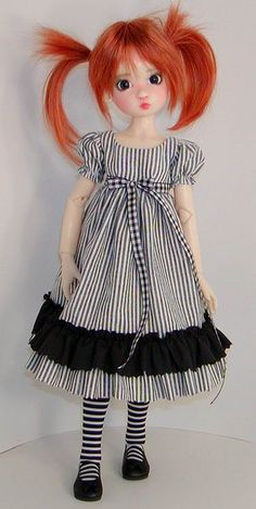 ABBlkWhtStripeRuffled by Sweet Creations Doll Fashions