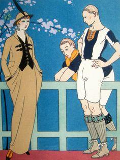 rugby pochoir, Gazette du Bon Ton, 1914 // illustrated by Georges Barbier Art Deco Artwork, Art Deco Paintings, Vintage Artwork, Vintage Prints, Art Deco Fashion, Fashion Prints, Vintage Vogue, Vintage Fashion, Pinturas Art Deco
