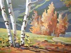 Birch Trees on a Hill paint by Numbers