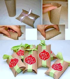 Toilet Paper Roll Crafts for Christmas! How To Make Gift Boxes out of cardboard toilet paper rolls - CREATIVE and Simple! Christmas Wrapping, Christmas Crafts, Christmas Decorations, Craft Decorations, Christmas Boxes, Christmas Packages, Christmas Ideas, Christmas Goodies, Homemade Christmas