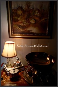 #Cottage Green on the Lake ... #tea cart #silver #punch bowl #bird #nest #cottage #decor