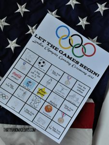 The London Olympics are fast approaching and we can't wait! I'm excited to have our family watch the Opening Ceremony. I created some kids worksheets- an Opening Ceremony BINGO- to keep them entertained while they watch. I have always really enjoyed watching the Olympics. Swimming and