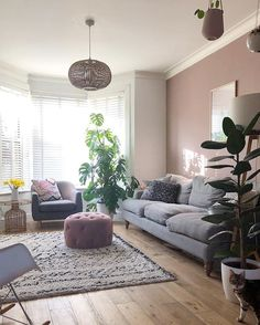 Living Room Color Schemes, Living Room Colors, Living Room Designs, Pink Living Rooms, Sage Living Room, Farrow And Ball Living Room, Snug Room, Room Wall Colors, Living Comedor