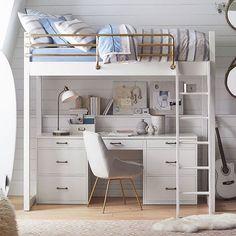 Hampton Convertible Loft Bed With Cushy Loveseat Small Room Bedroom, Bedroom Loft, Small Rooms, Dorm Room, Kids Bedroom, Girl Bedrooms, Modern Bedroom, Girls Bedroom With Loft Bed, Cool Bedroom Ideas