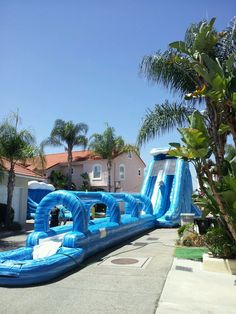Super Giant Wave Water Slide is 13'W x 67'L x 23'H, includes a tall climber, 23 foot tall slide, and a long slip area with a pool at the end. Slide down with water misting and feel the thrill of a water park style giant ride. A fun attraction for ages 12 to adults. Call 800 873-8989 to rent.