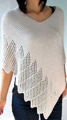 Пончо спицами 2019 Shrug Knitting Pattern, Crochet Shawl Free, Crochet Coat, Knitted Poncho, Knitted Shawls, Lace Knitting, Crochet Designs, Crochet Patterns, Denim Tote Bags