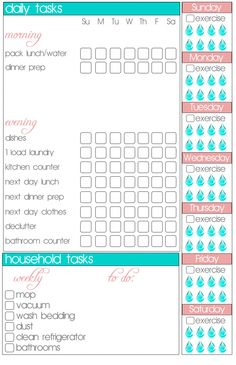 Printable Weekly {To Do / Exercise / Water / Household} Plan - Southern Melle